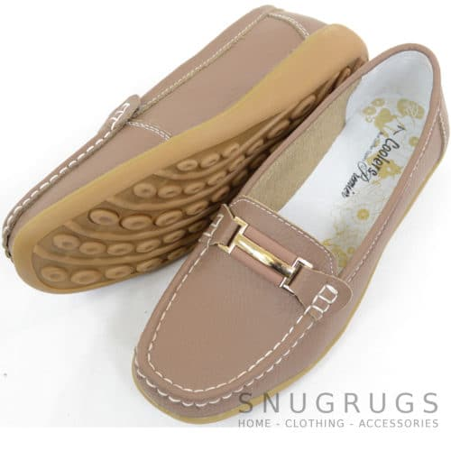 Leather Slip On Flat Shoes - Taupe