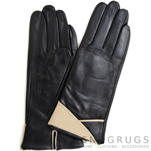 Alis - Leather Glove with Folded Cuff Design - Beige