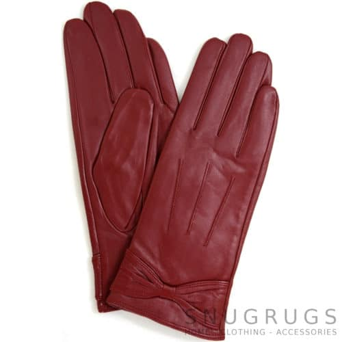 Alwen - Leather Gloves with Bow Design - Red