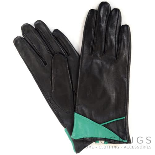 Emily - Leather Glove with Colour Cuff Design - Aqua