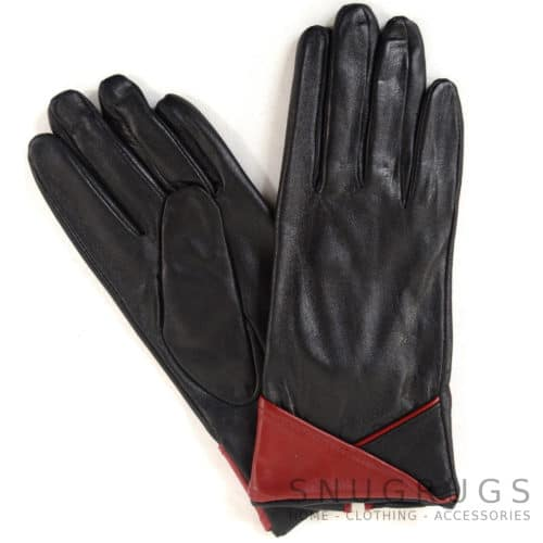 Emily - Leather Glove with Colour Cuff Design - Red