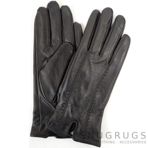 Caitlin - Leather Glove Attractive Stitch Design - Black
