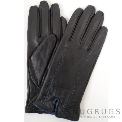 Caitlin - Leather Glove Attractive Stitch Design - Navy