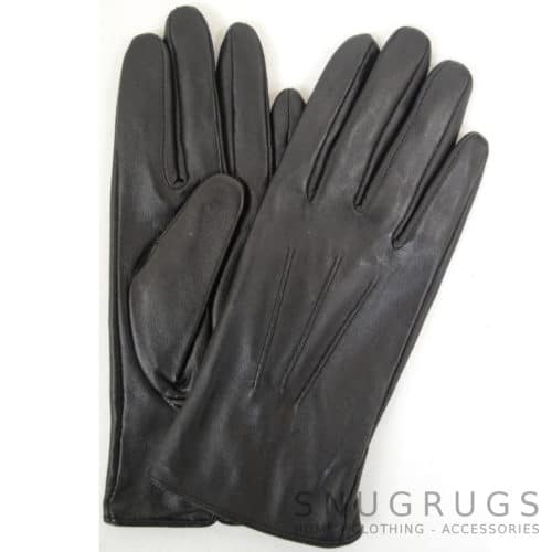 Ruthana - Leather Glove with Three Point Stitch - Black