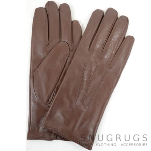 Ruthana - Leather Glove with Three Point Stitch - Brown