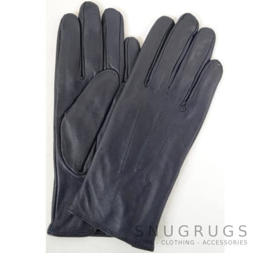Ruthana - Leather Glove with Three Point Stitch - Navy