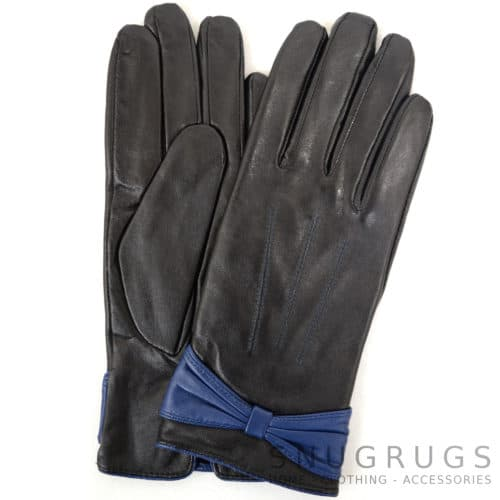 Elle - Leather Glove with Ruched Bow Design - Navy