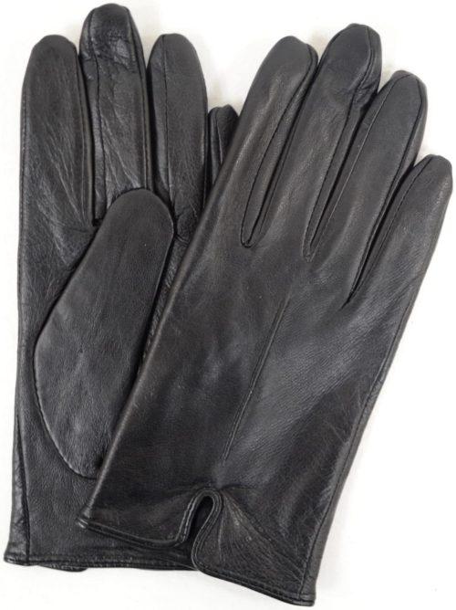 Martina - Leather Glove with Stitch Design - Black