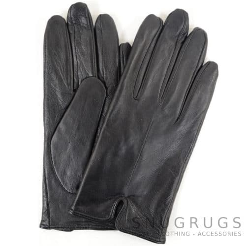 Martina - Leather Glove with Stitch Design - Black