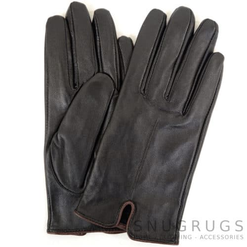 Martina - Leather Glove with Stitch Design - Brown