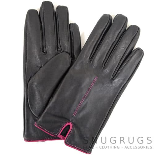 Martina - Leather Glove with Stitch Design - Pink