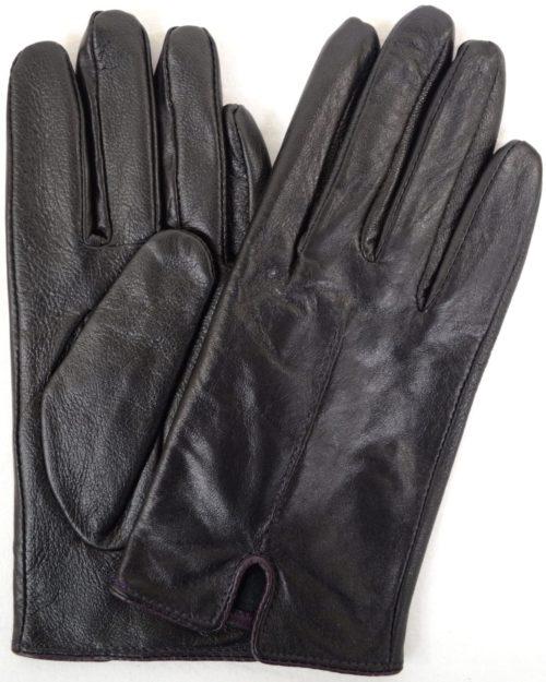 Martina - Leather Glove with Stitch Design - Purple