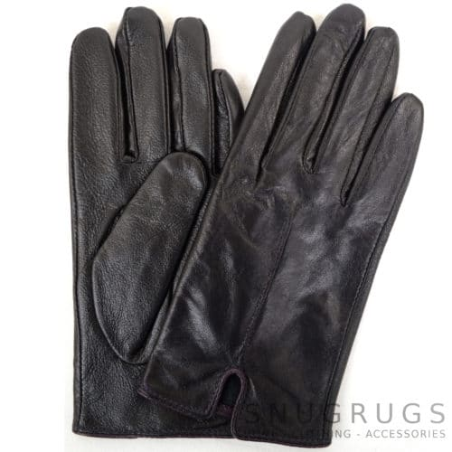 Martina - Leather Glove with Stitch Design - Purple