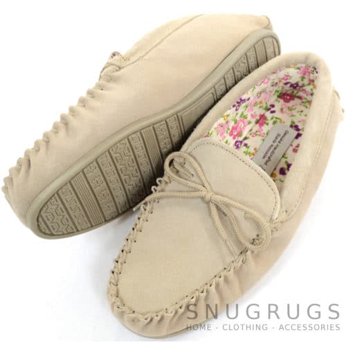 Wool Suede Fabric Lined Moccasins - Camel