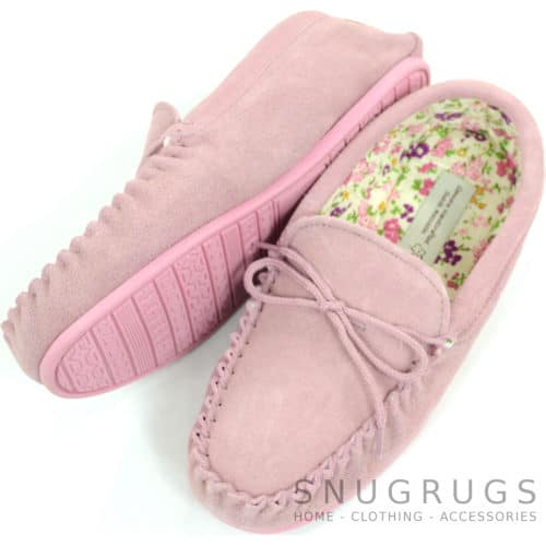 Wool Suede Fabric Lined Moccasins - Pink