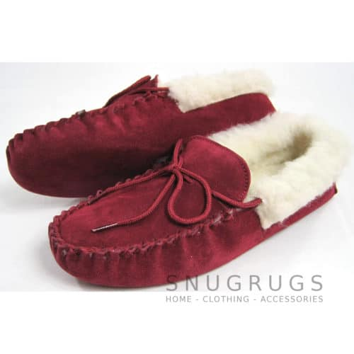 Wool Lined Suede Moccasins Wool Cuff Soft Sole - Crimson