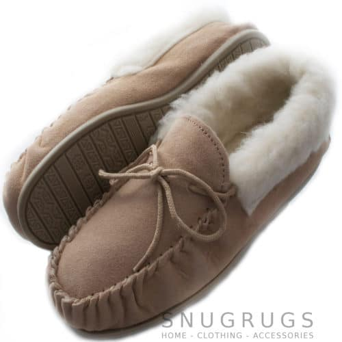 Wool Lined Suede Moccasins Wool Cuff Rubber Sole - Camel