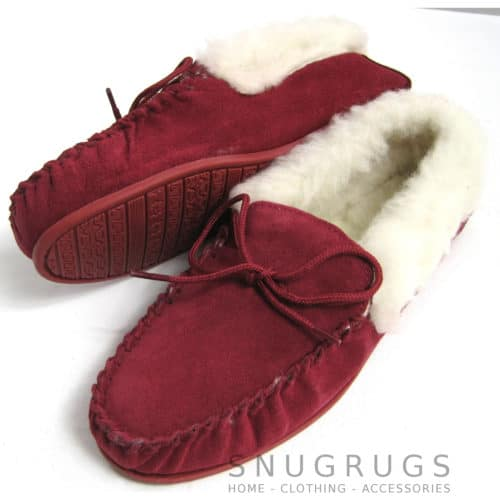 Wool Lined Suede Moccasins Wool Cuff Rubber Sole - Crimson