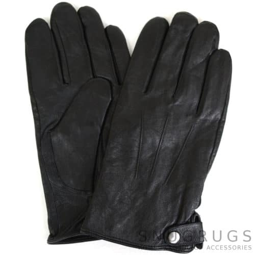 Leather Gloves 3 Pt Stitch with Stud Fastening - Black