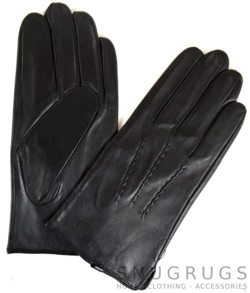Leather Gloves with Three Point Stitch – Black