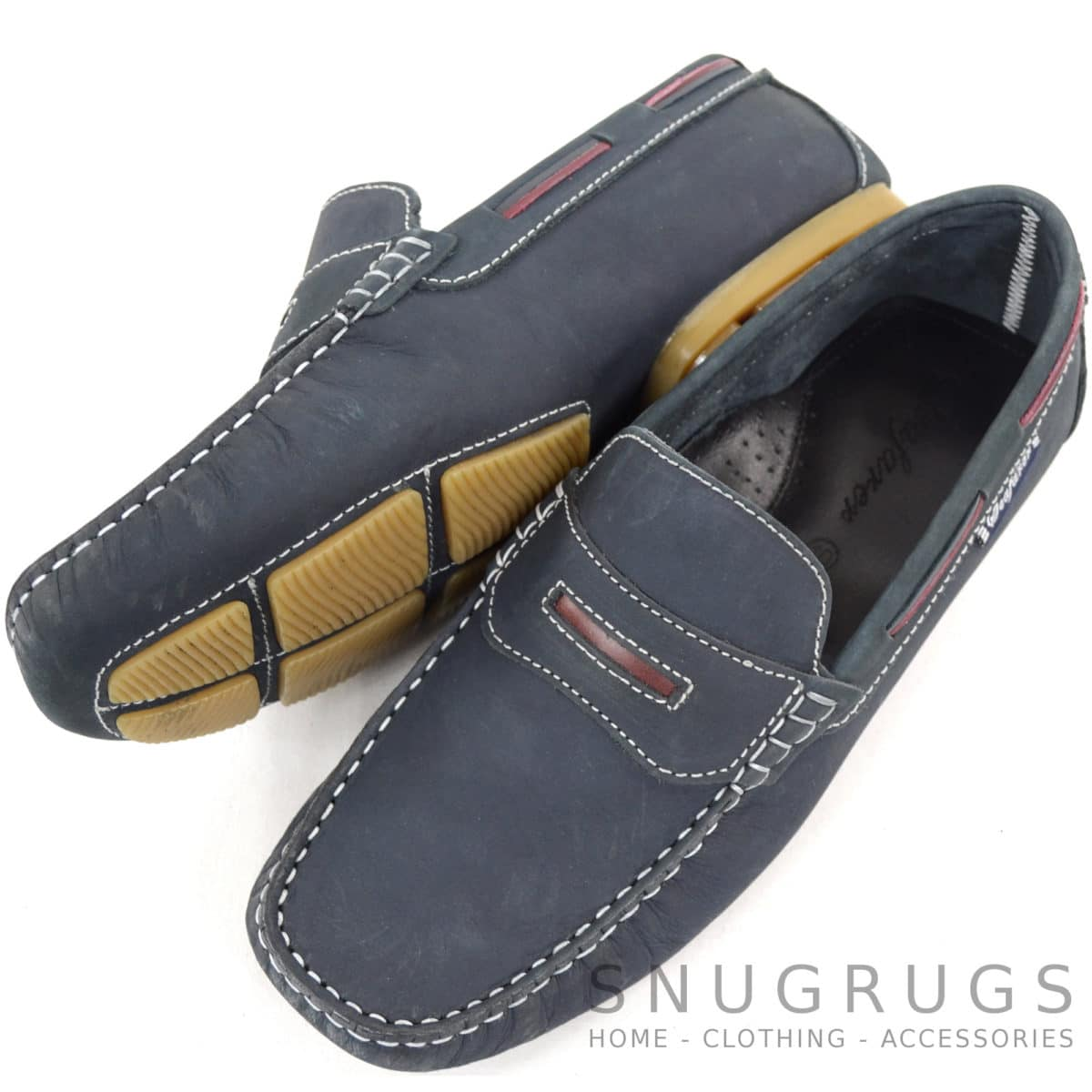 Sloop Leather Slip On Loafers - Navy