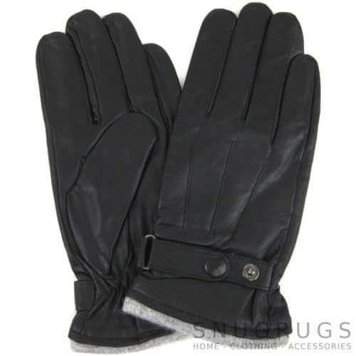Leather Stud Gloves - Black
