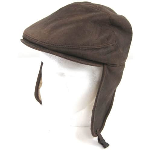 Henry - Soft Nappa Leather Shooting Hat with Sheepskin Inner - Brown Forest