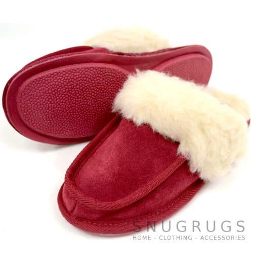 Pat - Wool Suede Mule Slippers - Crimson