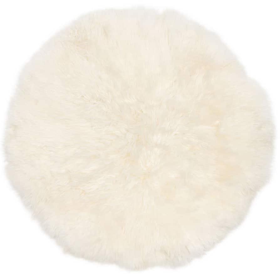 Round Sheepskin Rug - Ivory 100cm