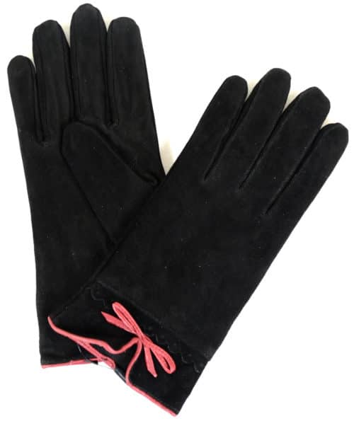 Suede Gloves Fleece Lining and Bow Feature - Black