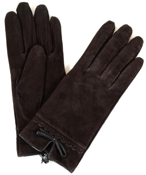 Suede Gloves Fleece Lining and Bow Feature - Brown