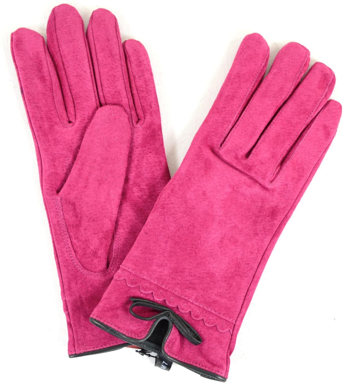 Suede Gloves Fleece Lining and Bow Feature - Pink