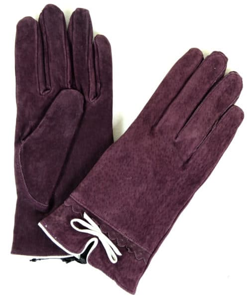 Suede Gloves Fleece Lining and Bow Feature - Purple