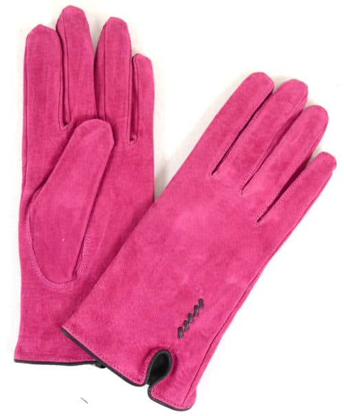 Suede Gloves Fleece Lining and Stitch Design - Pink