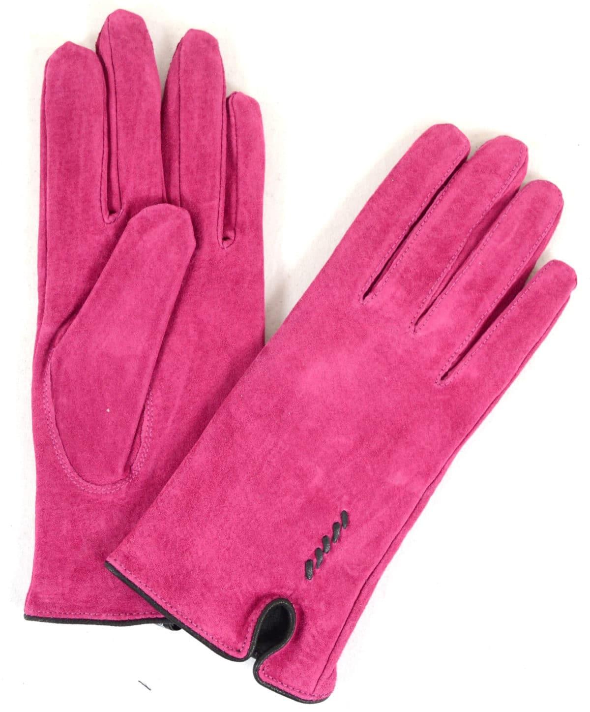 Suede Gloves Fleece Lining and Stitch Design - Pink