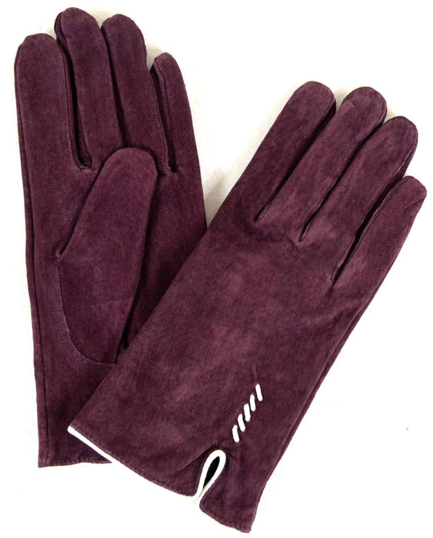 Suede Gloves Fleece Lining and Stitch Design - Purple