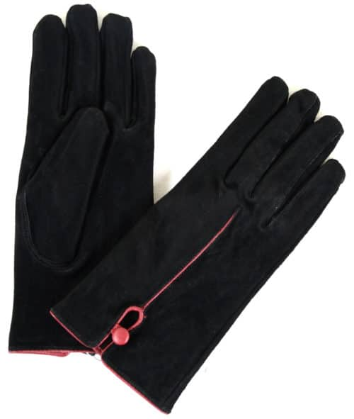 Suede Gloves Fleece Lining and Button Design - Black