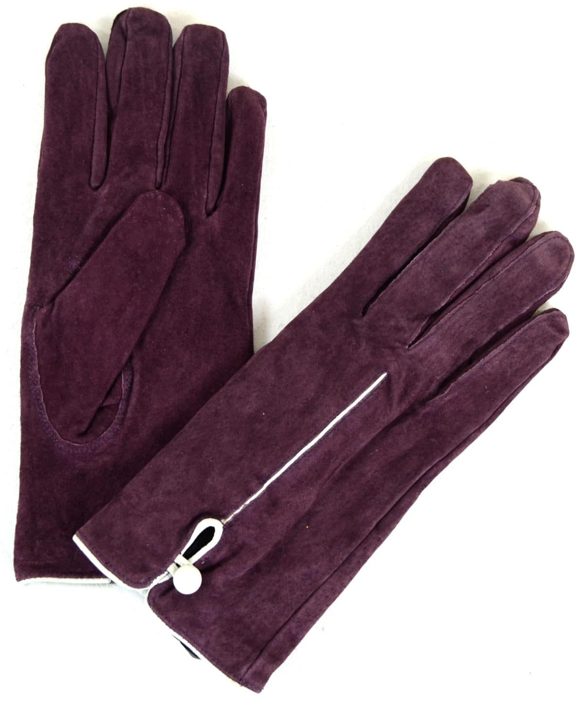 Suede Gloves Fleece Lining and Button Design - Purple