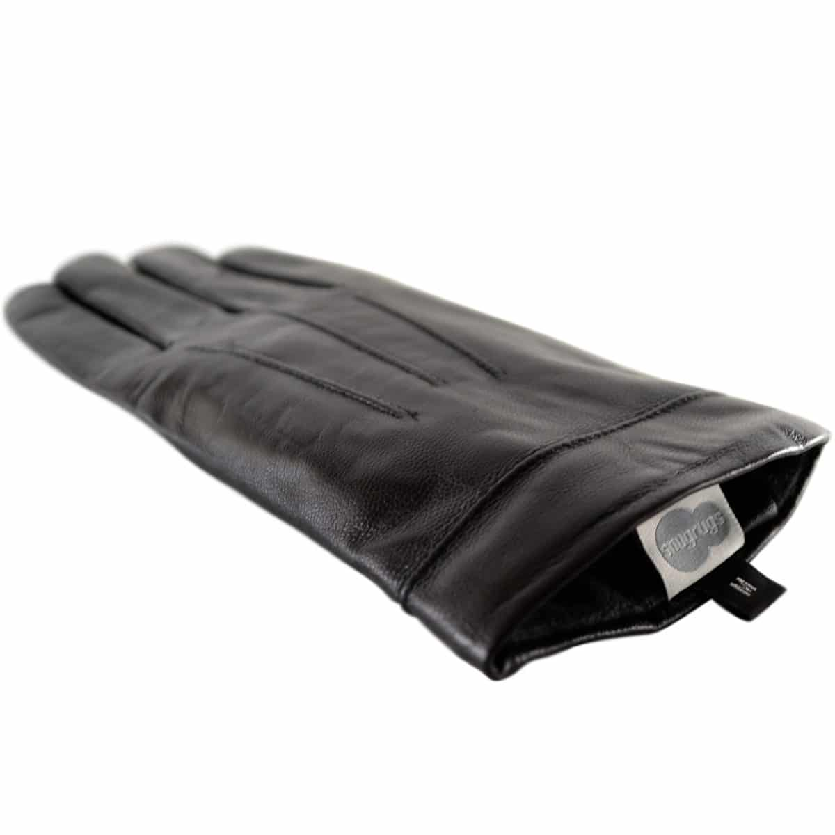 Mavis - Leather Gloves Three Point Stitch - Black