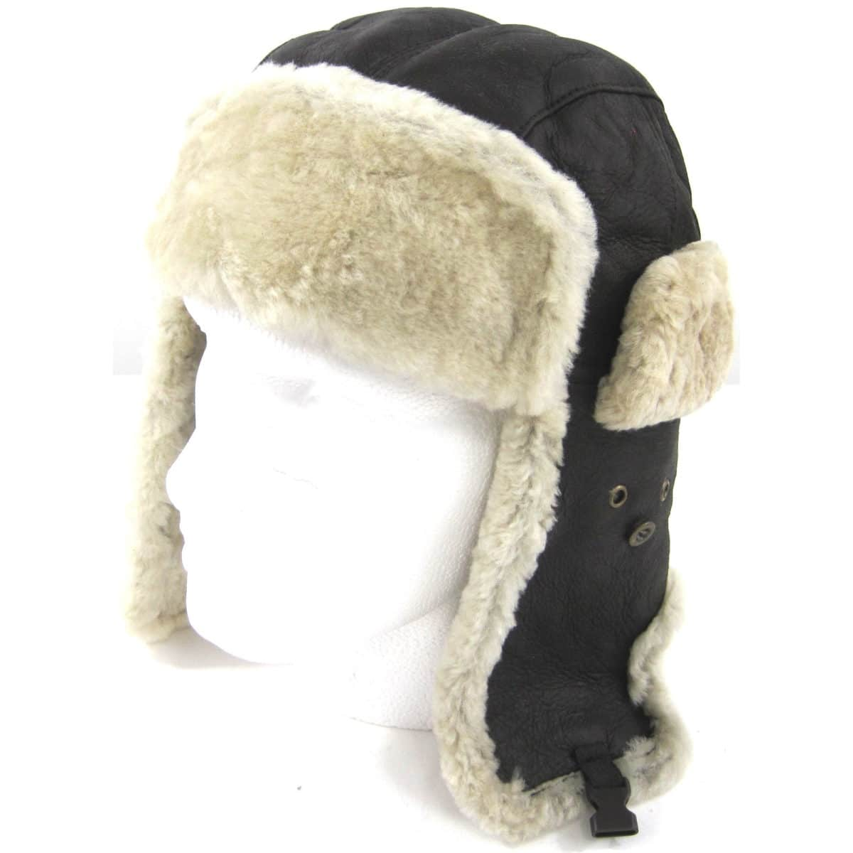 Sidney - Soft Nappa Leather Trapper Hat with Sheepskin Inner - Chocolate Forest