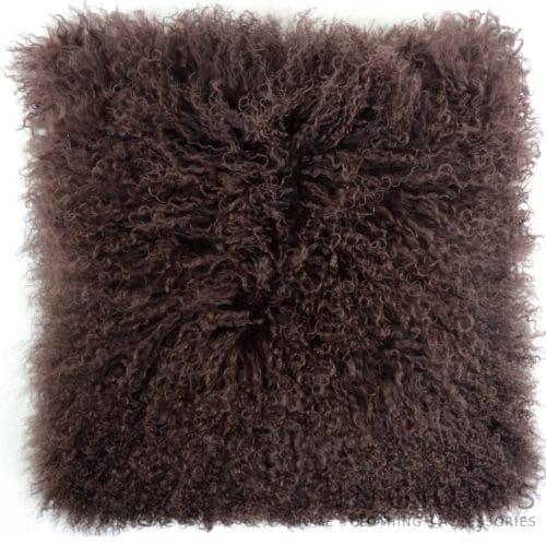 Snugrugs Mongolian Sheepskin Cushion 60cm x 60cm – Brown