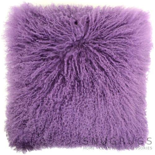 Snugrugs Mongolian Sheepskin Cushion 40cm x 40cm – Purple