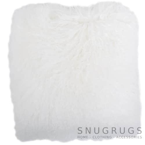 Snugrugs Mongolian Sheepskin Cushion 40cm x 40cm – White
