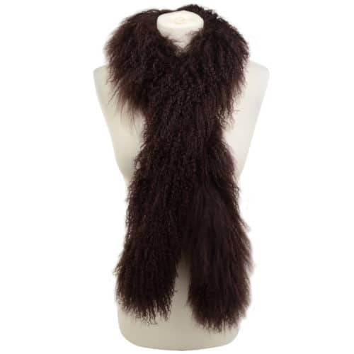 Mongolian Sheepskin Scarf - Brown
