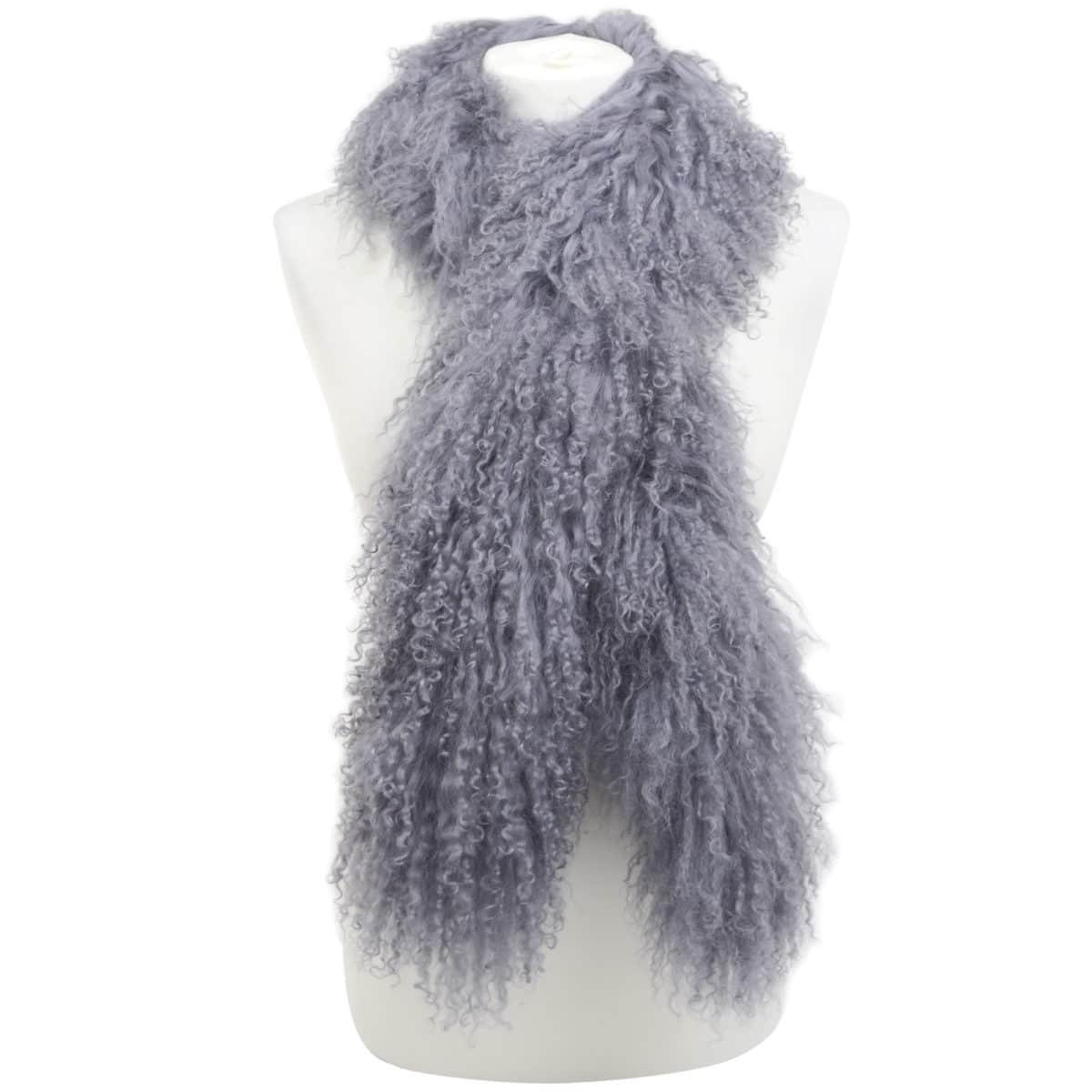 Mongolian Sheepskin Scarf - Grey
