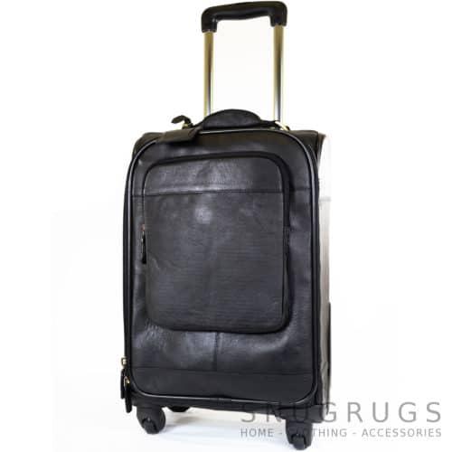 Leather Wheeled Trolley Case - Black