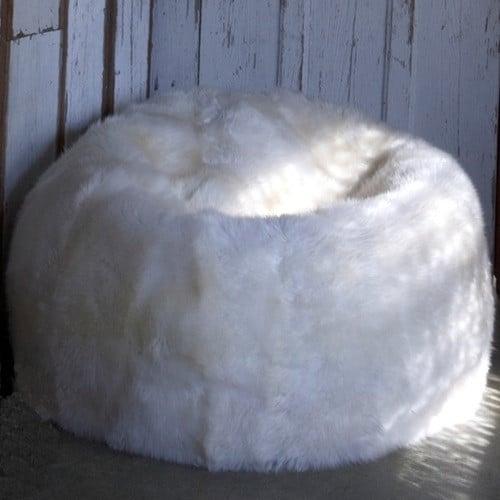 Large Luxury Sheepskin Bean Bag - Natural Ivory