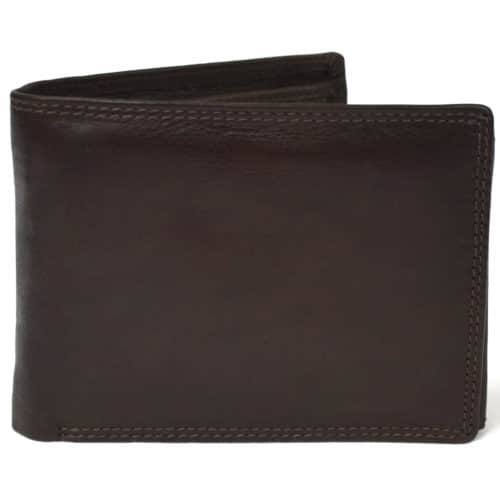 Sam - Prime Hide Leather Tri-Fold Wallet - Dark Brown