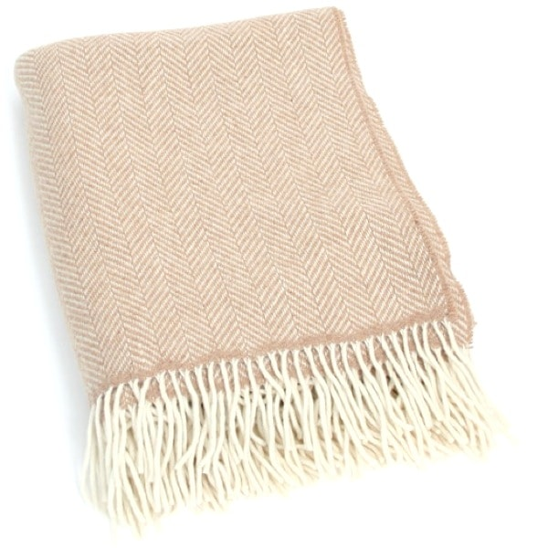 Merino Cashmere Blanket / Throw - Beige Herringbone
