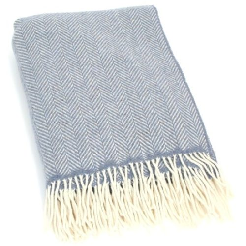 Merino Cashmere Blanket / Throw - Blue Herringbone